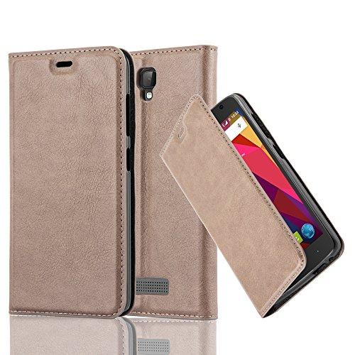 Cadorabo Hülle für ZTE Blade L5 - Hülle in Kaffee BRAUN – Handyhülle mit Magnetverschluss, Standfunktion und Kartenfach - Case Cover Schutzhülle Etui Tasche Book Klapp Style