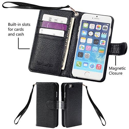 iPhone 6s Plus / 6 Plus Hülle, Wisdompro® Premium PU-Leder 2-in-1 [Folio Flip Wallet] Schutzhülle mit Kreditkartenhaltern / Steckfächern für Apple iPhone 6s Plus / 6 Plus (schwarz) Schwarz mit Trageschlaufe