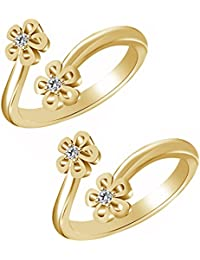 Jewels Exotic Bypass Flower Style Toe Rings For Women 0.02 CT White CZ 925 Silver 14K Yellow Gold Fn