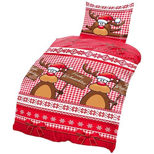 one-home Biber Bettwäsche 135x200 cm Winter Weihnachten Elche Rentier rot braun Baumwolle