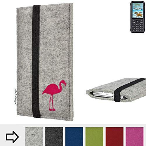 flat.design Handy Hülle Coimbra für Energizer H20 Made in Germany Handytasche Filz Tasche Case fair Flamingo pink