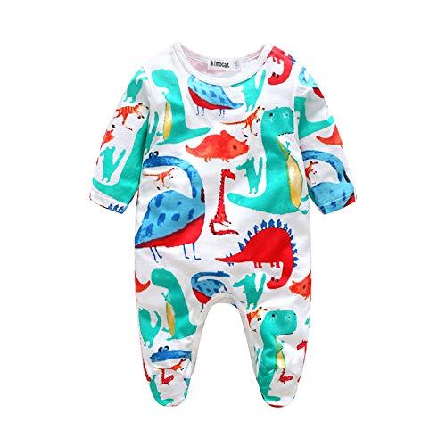 ZIHOUKIJ Säuglingsbaby-Jungen-Dinosaurier-Spielanzug-Baumwolllanges Hülsen-Outfit Footies Nette Pyjamas (Color : Blue, Size : 90) Footie Sleeper