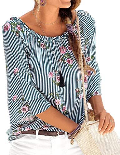 Yiarnme Damen Bluse 3/4 Arm Schulterfrei Oberteil Tops Sommer Carmen Shirt Rundhals Tops Tunika Blau L -