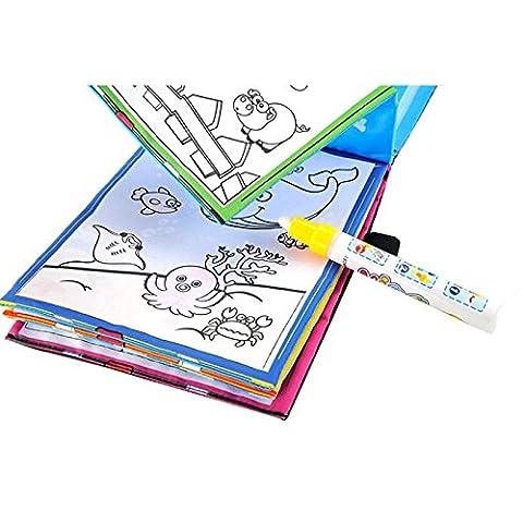 Kinder Zeichnung Buch, Huihong Lustige Magie Wasser Zeichnung FäRbung Buch Doodle Magie Stift Tiere Malerei Kinder PäDagogischen Spielzeug Geschenk