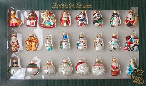 Krebs Glas Lauscha - Mini Figurensortiment - 24 Stück - kleine Glasfiguren als Weihnachtsbaumschmuck - Glaskugeln