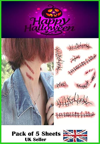RMCtrends [Pack of 5 sheets] HD Ultra Realistic Halloween Tattoos Fancy Dress Party Costume Makeup Temporary Tattoo Stickers Decoration Fake Wounds Scars and Stitches Make Up