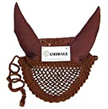HORSE EAR NET FLY VEIL CROCHET WITH BEADS BROWN COLOR FULL AMIDALE SPORTS (FULL)