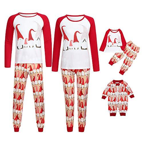 Riou Weihnachten Baby Kleidung Set Kinder Pullover Pyjama Outfits Set Familie Frauen Mutter Weihnachtsmann Tops Bluse Hosen Familie Pyjamas Nachtwäsche Set (M, ()