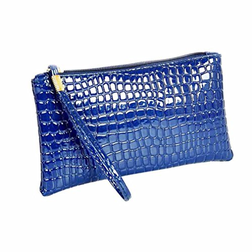 Internet Femmes Crocodile cuir embrayage sac à main sac porte-monnaie 19cm×11cm×1.5cm (Bleu)