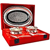 M.G.R.J German Silver Set Of Handi Bowl's With Spoon's And Tray Beautiful Precious Gift (Set Of 2 PC's)