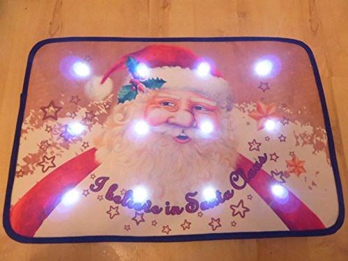 Zerbino natalizio babbo natale musicale con luci led 60x 40cm decorazione di interni