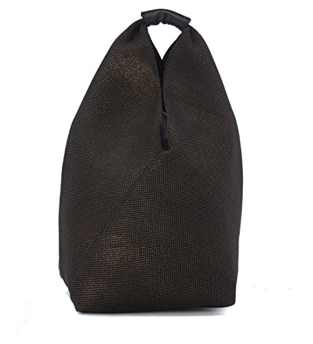 Borsa triangolo MM6 Maison Margiela in pelle forata nera laminata oro