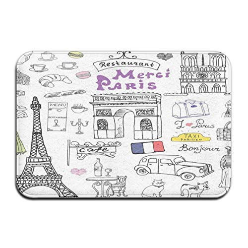 Non-Slip Indoor/Outdoor Door Mat Bath Mat,Paris Culture In Doodle Style Drawing Eiffel Tower Beret Croissant Blue Cheese Taxi,for Living Room Bedroom Rugs Place Mats (Drawing-easy Eiffel Tower)