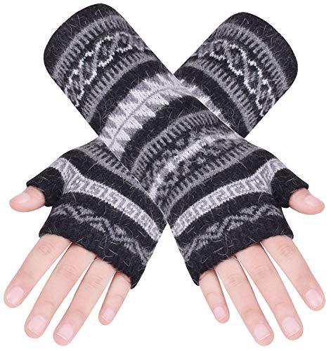 Wooly Bugged Damen Lange Armwärmer Stricken Fingerlose Handschuhe Schwarz 1