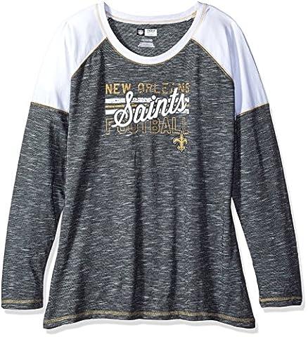 NFL New Orleans Saints Women's Long Sleeve Raglan Open Neck