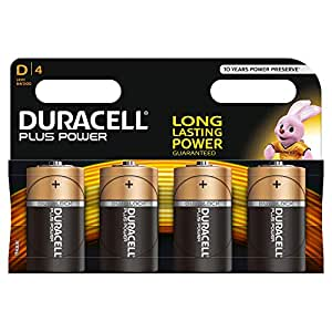 Duracell Plus Power Alkaline D Batterien, 4er Pack