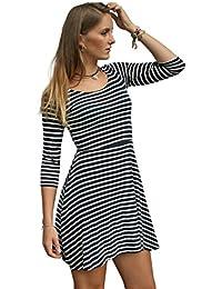 f43372e9ff1b Nautical Navy White Stripe Jersey Skater Dress
