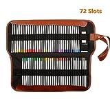 Yalulu Leinwand Pencil Wrap, 72 Stifthalter gefärbt Bleistifte Roll Mehrzweck-Tasche für Schwarz Schule Büro Kunst (Bleistifte sind nicht enthalten)