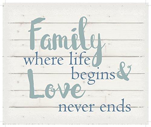 Lichterkette Company Family Where Life Begins & Love Never ends-white Hintergrund, zum Aufhängen 25,4x 30,5cm