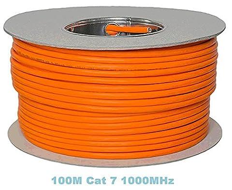 Bobine 100 m Gigabit cuivre, sans halogène Câble Ethernet Cat 7 1000 MHz pour TV en streaming/UHD/IPTV/lecteurs Multimédia/Récepteurs Satellite/Câble réseau serveurs/ordinateurs PC/Super Fast Ethernet