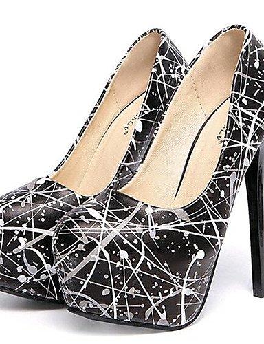 WSS 2016 Chaussures Femme-Soirée & Evénement-Noir / Blanc-Talon Aiguille-Talons-Talons-Similicuir black-us7.5 / eu38 / uk5.5 / cn38