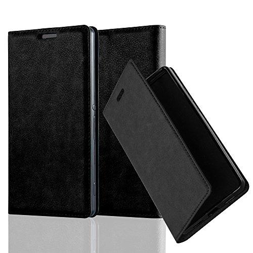Cadorabo Hülle für Sony Xperia Z3 - Hülle in Nacht SCHWARZ – Handyhülle mit Magnetverschluss, Standfunktion und Kartenfach - Case Cover Schutzhülle Etui Tasche Book Klapp Style