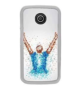 Fiobs Designer Back Case Cover for Motorola Moto E3 :: Motorola Moto E (3rd Gen) (White Yellow Tshirt Victory Symbol)