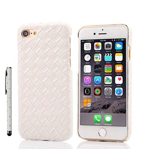 iPhone 7 Plus Coque Case, Fine Poids léger Dur Plastique Housse de Protection 3D Tricoté Forme Seire pour Apple iPhone 7 Plus 5.5 inch X 1 stylet ( blanc ) blanc
