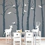 Wandtattoo Loft Birkenstämme mit Hirsch und Reh (2farbig) in der Größe 250 cm hoch x 341 cm breit / Wald / Tiere / Wandaufkleber / Wandsticker
