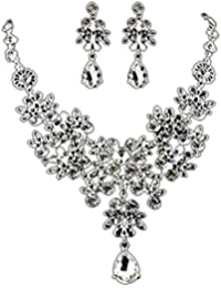 Mingfa.y_Necklace White: Crystal Rhinestone Pendant Necklace Earrings Set For Women Girls Mingfa Flower Prom Wedding...