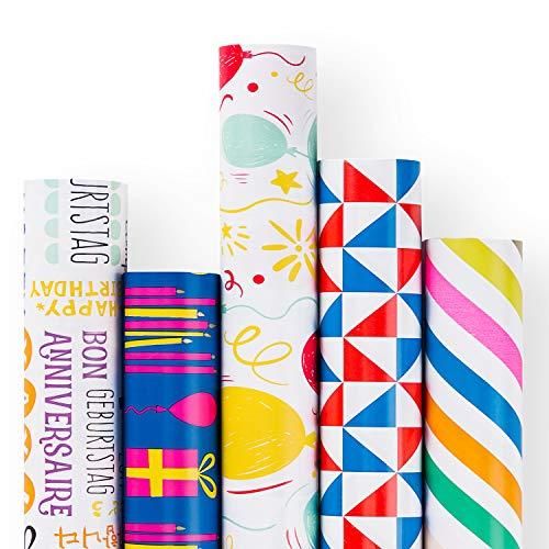 RUSPEPA Geschenkpapierrolle - Rotes Und Blaues Geburtstagsthema-Design Für Party, Geschenkpapier - 5 Rollen - 76,2 X 305 cm Pro Rolle