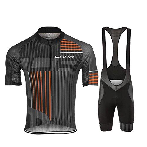 d.Stil Herren Radtrikot Set Kurzarm mit Sitzpolster für MTB Rennrad Fahrrad Jersey + Bib Shorts Radsportanzug M - XXXXL (Grau-Orange, XXXL)
