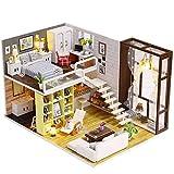 JUNJUNA Cabina Fai-da-Te Semplice Città con Modello di Copertura Puzzle Creativo Giocattoli Fatti A Mano per Bambini Loft Appartamento Regali di Natale