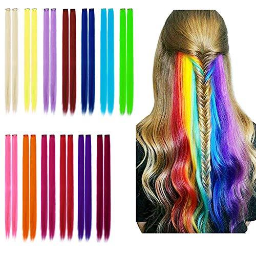 Farbiger Haarverlängerungs Clip - 26pcs Highlights Gerade Lange Bunte Haarteil Multi-Farben DIY Haarschmuck für Mädchen Frauen Kinder