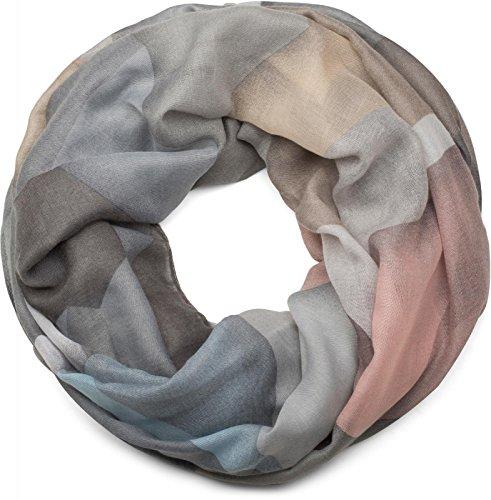 styleBREAKER Loop Schal mit geometrischem Muster Print, Schlauchschal, Tuch, Damen 01016141, Farbe:Hellgrau-Hellblau-Rose