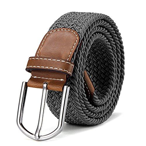 Stoffgürtel Stretchgürtel geflochten und elastisch Gürtel für Damen und Herren Länge 100 cm bis 130 cm grau -