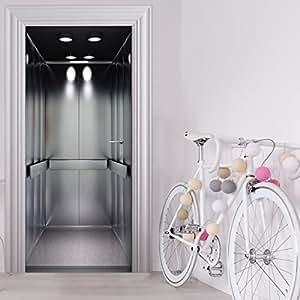 StickerProfis Papier peint trompe-l'œil pour décoration de porte Motif ascenseur