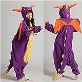 DRAGONS/Unisex adulto Kigurumi Costume da carnevale da notte con cappuccio, Spyro the Dragon, L(170 cm-180 cm)