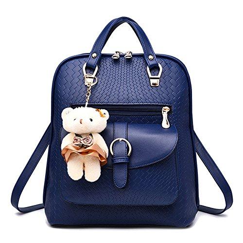 SANANG Mädchen Damen Pu-leder Schule Umhängetasche Reiserucksack Rucksack mit Bär Anhänger Dunkelblau