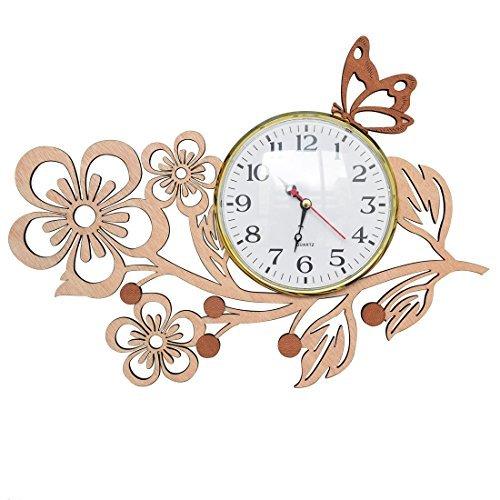 Giftgarden orologio da muro parete cucina in legno con fiori a cinque petali