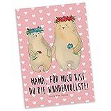 Mr. & Mrs. Panda Postkarte Bären mit Blumenkranz - 100% Handmade in Norddeutschland - Einladung, Bär, Karte, Mutter, Kinder, Papier, Karton, Töchter, Mutti, Mama, Beste Mutter, Sprüche