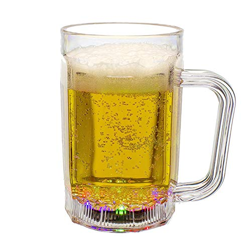 Danolt LED Bierkrüge, 17 Unzen Flash Beleuchtung Party Biergläser, leuchten flüssige Biergläser Tassen für Bar Club Verein BBQ