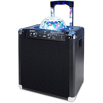 ION Audio Block Party Live   Enceinte Bluetooth 50W Portable et Rechargeable avec Eclairage LED Disco + Microphone et Karaoké