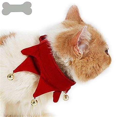 GXY - Collier migon pour Chien Chat Chiot / Costume pour animaux de compagnie Cadeau Noël Écharpe Collier adjustable en velours avec petite cloche