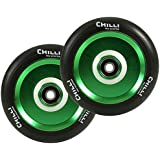 Chilli Pro Scooter Wheels 110mm Urethane - Pop Pro Scooter Replacement Wheels - Green Pro Scooters Wheels & ABEC 9 Bearings W/Aluminum Hubs - Freestyle Stunt Scooter Wheel - (1 Single Wheel)