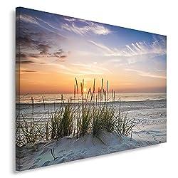 Feeby Frames, Leinwandbild, Bilder, Wand Bild, Wandbilder, Kunstdruck 80x120cm, Landschaft, Grass, Strand, Wasser, Meer, Sand, Himmel