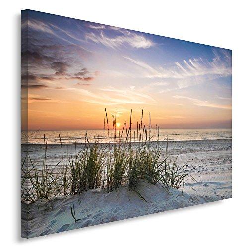 Feeby Frames, Leinwandbild, Bilder, Wand Bild, Wandbilder, Kunstdruck 70x100cm, Landschaft, Grass, Strand, Wasser, Meer, Sand, Himmel -