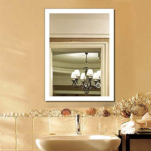 YJIIJY Espejo de Baño con LED Iluminado, Botón Táctil, Montado en la Pared, Espejo de Maquillaje...