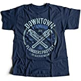 Flamentina A002-046n Downtown Plumbing Herren T-Shirt Daily Service Plumbers Protect Health of Nation Wrench Maintenance(X-Large,Navy)