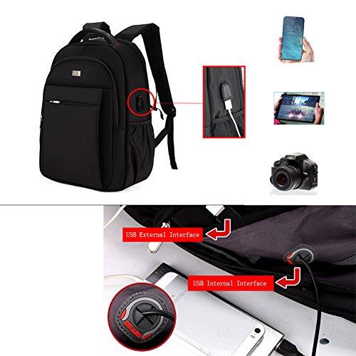 Zaino del computer portatile, Shuaibo Ergonomic Design Poliestere Borsa impermeabile, porta USB di ricarica per studenti, viaggi allaperto, Business (Nero) Marrone
